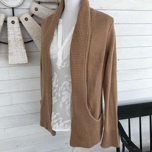 Camel Tan Waffle Knit Detail Cardigan Sweater